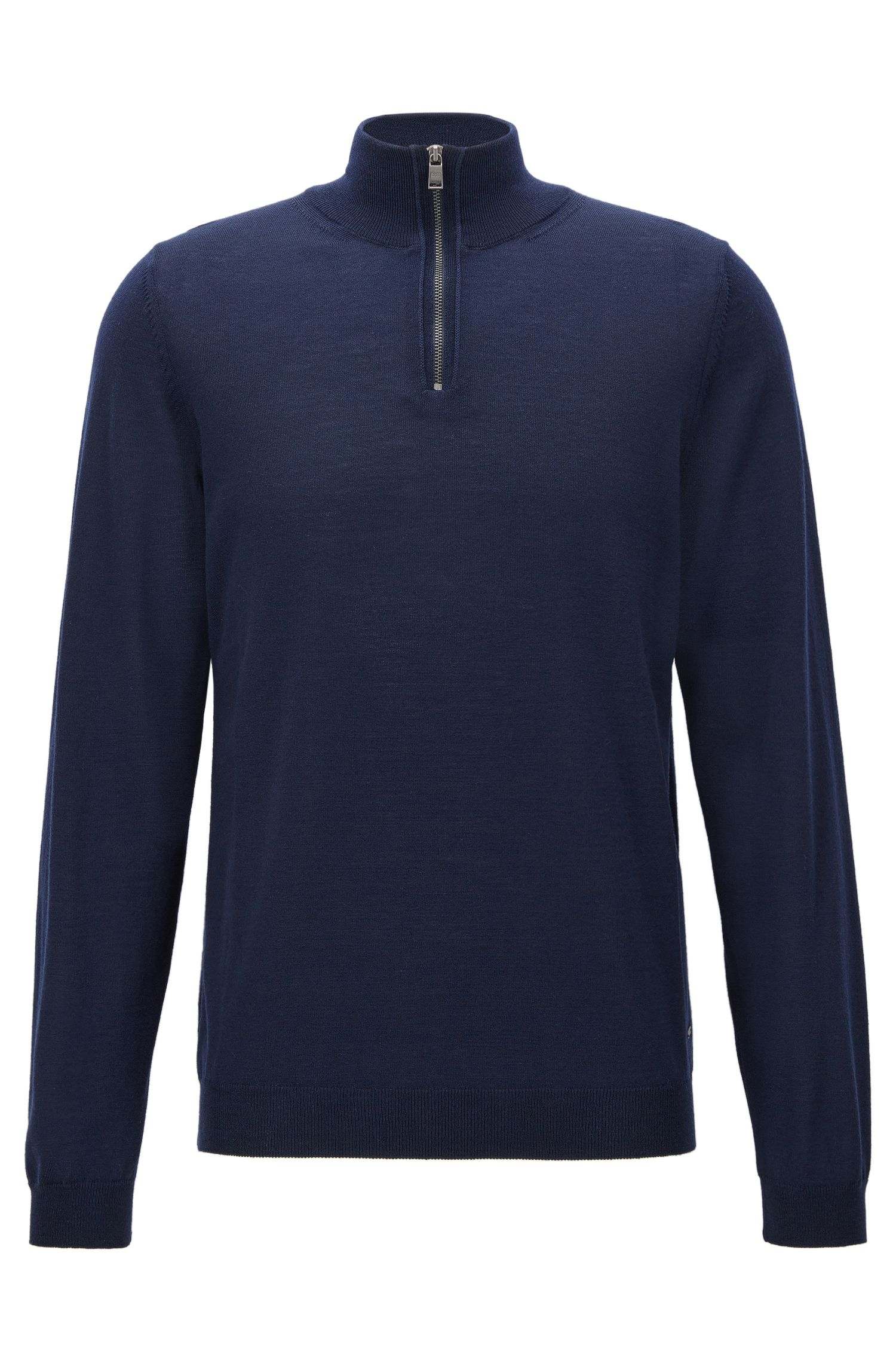 Maglione slim fit con colletto con zip in lana merino