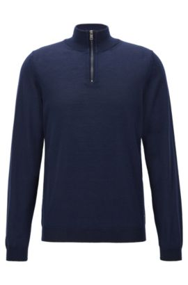 Maglione slim fit con colletto con zip in lana merino, Blu scuro