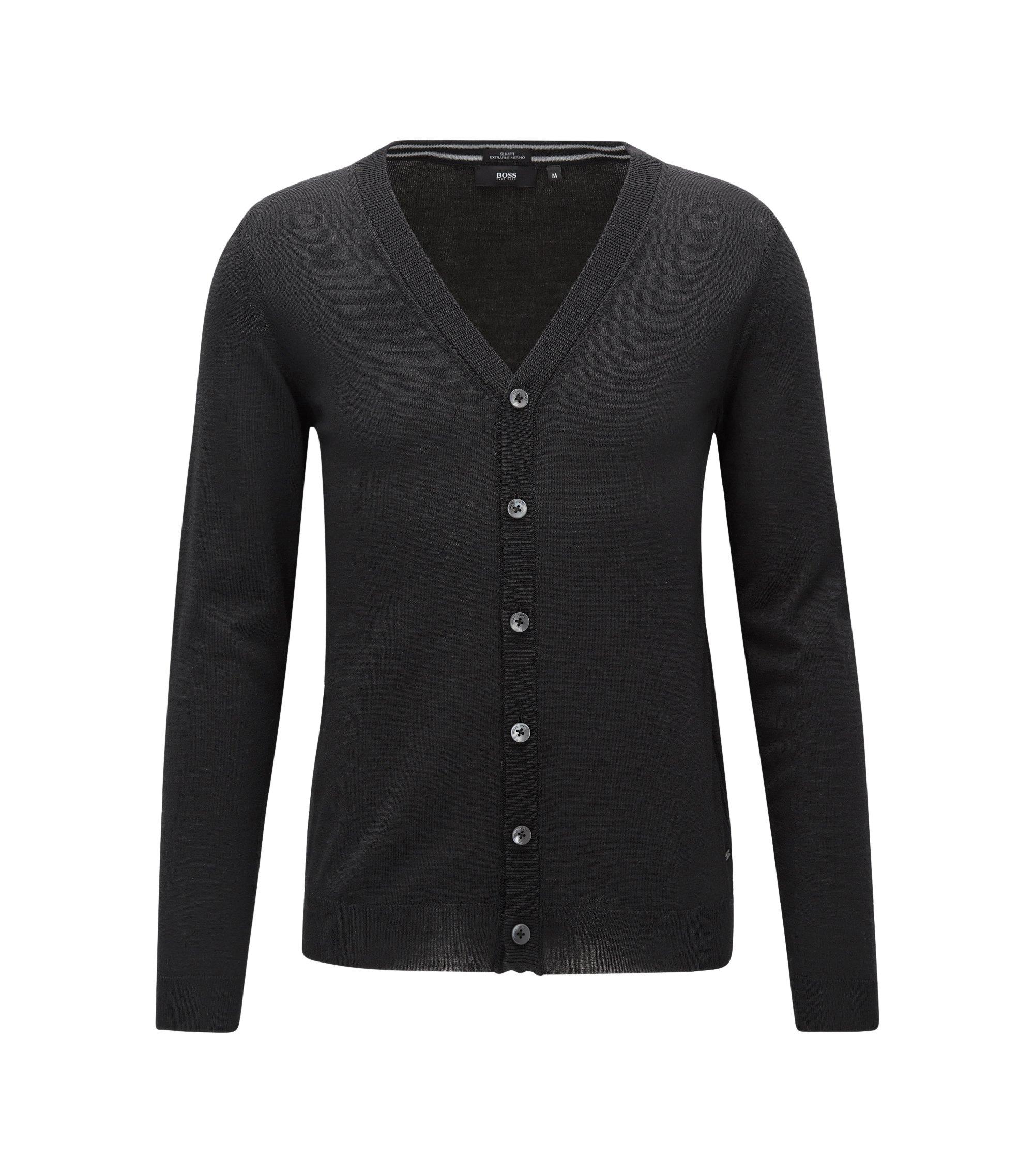 Slim-fit cardigan in merino wool, Black