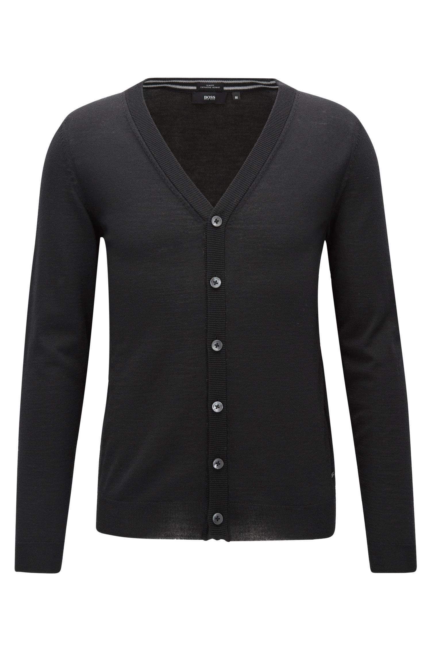 Slim-fit cardigan in merino wool