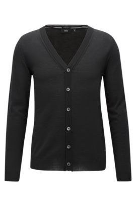 Cardigan slim fit in lana merino, Nero