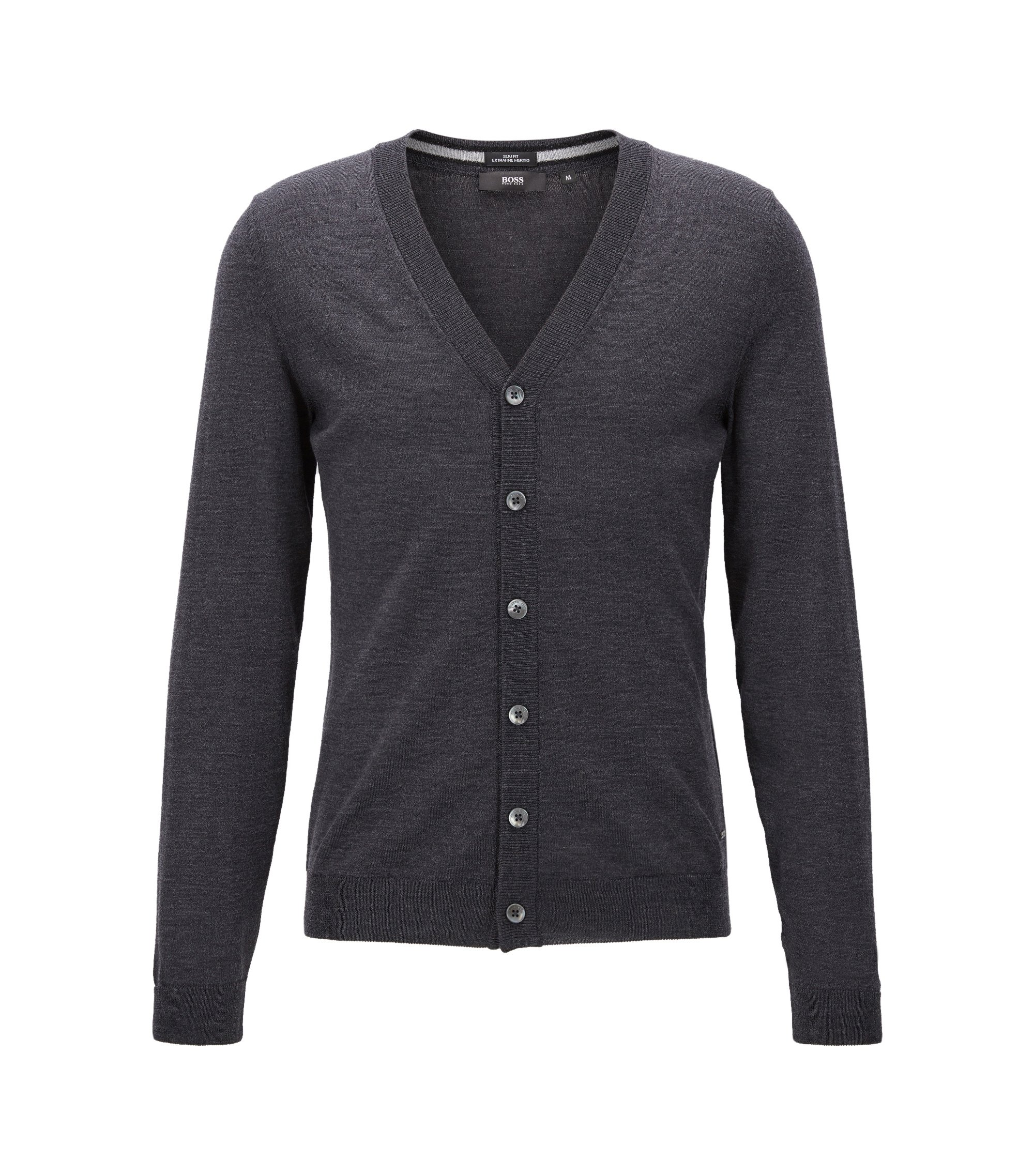 Slim-fit cardigan in merino wool, Dark Grey