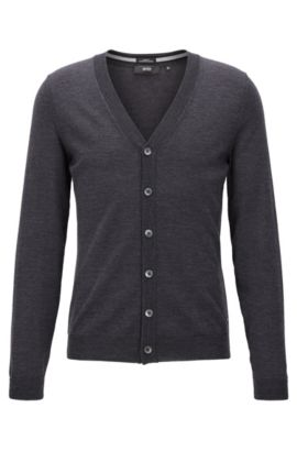 Cardigan slim fit in lana merino, Grigio scuro