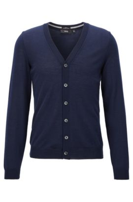 Slim-fit cardigan in merino wool, Dark Blue