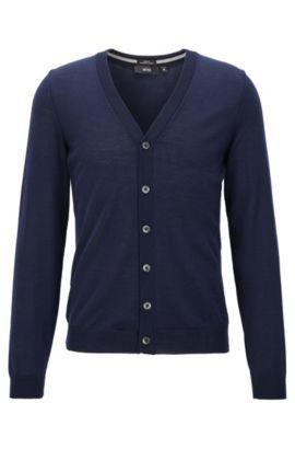 Cardigan Slim Fit en laine mérinos, Bleu foncé