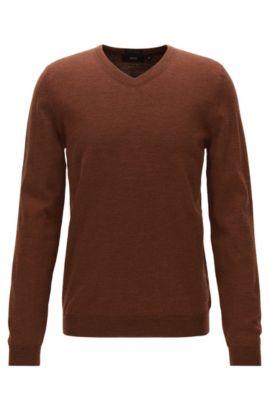 Jersey con cuello en pico de lana virgen, Marrón