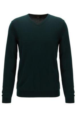 V-neck sweater in virgin wool, Dark Green