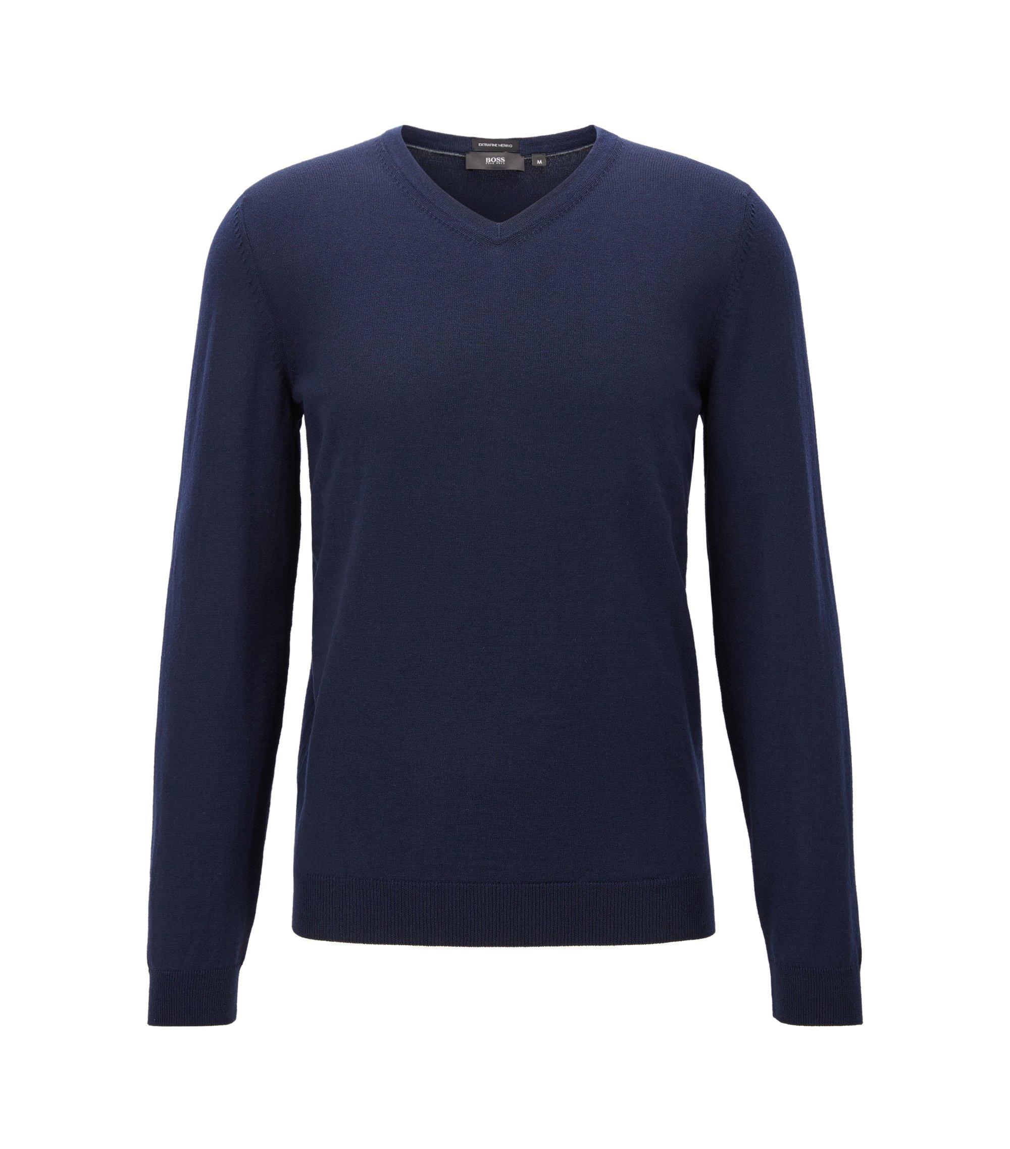 V-neck sweater in virgin wool, Dark Blue