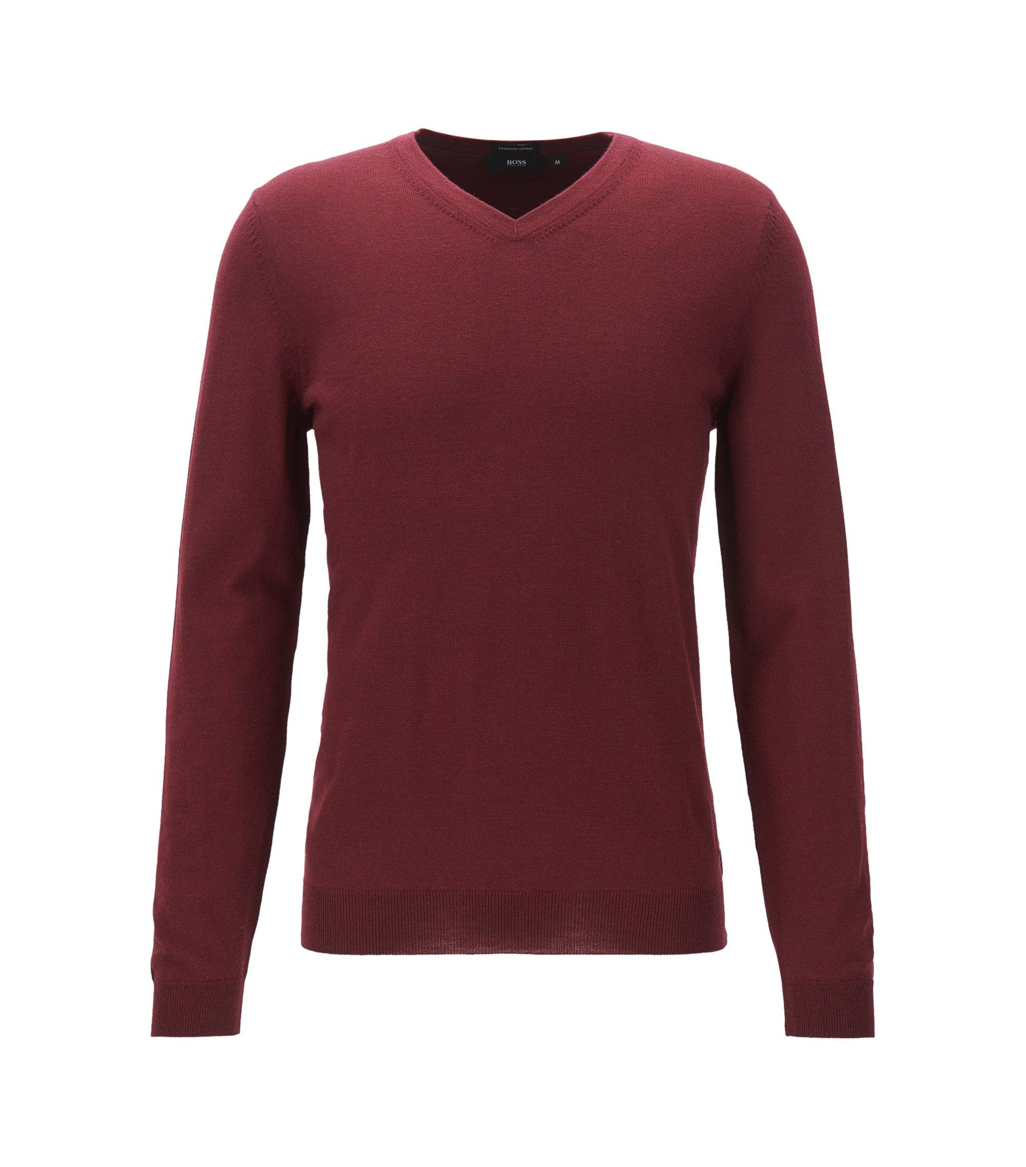 Maglione con scollo a V in lana vergine, Rosso scuro