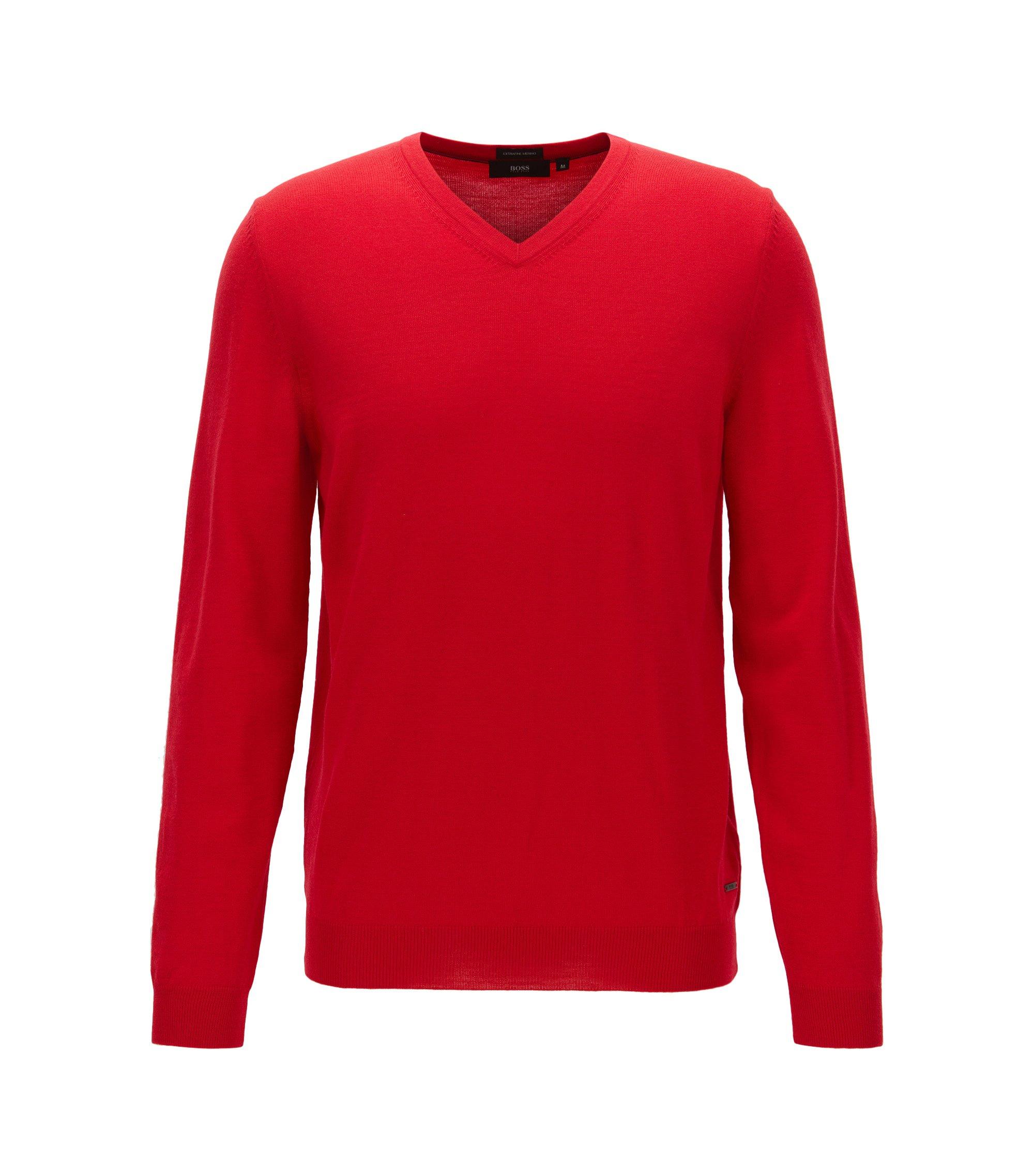 Pullover aus Merinowolle mit V-Ausschnitt, Rot