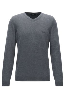 V-neck sweater in virgin wool, Grey