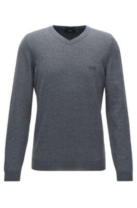 Regular-Fit Pullover aus Schurwolle mit V-Ausschnitt, Grau