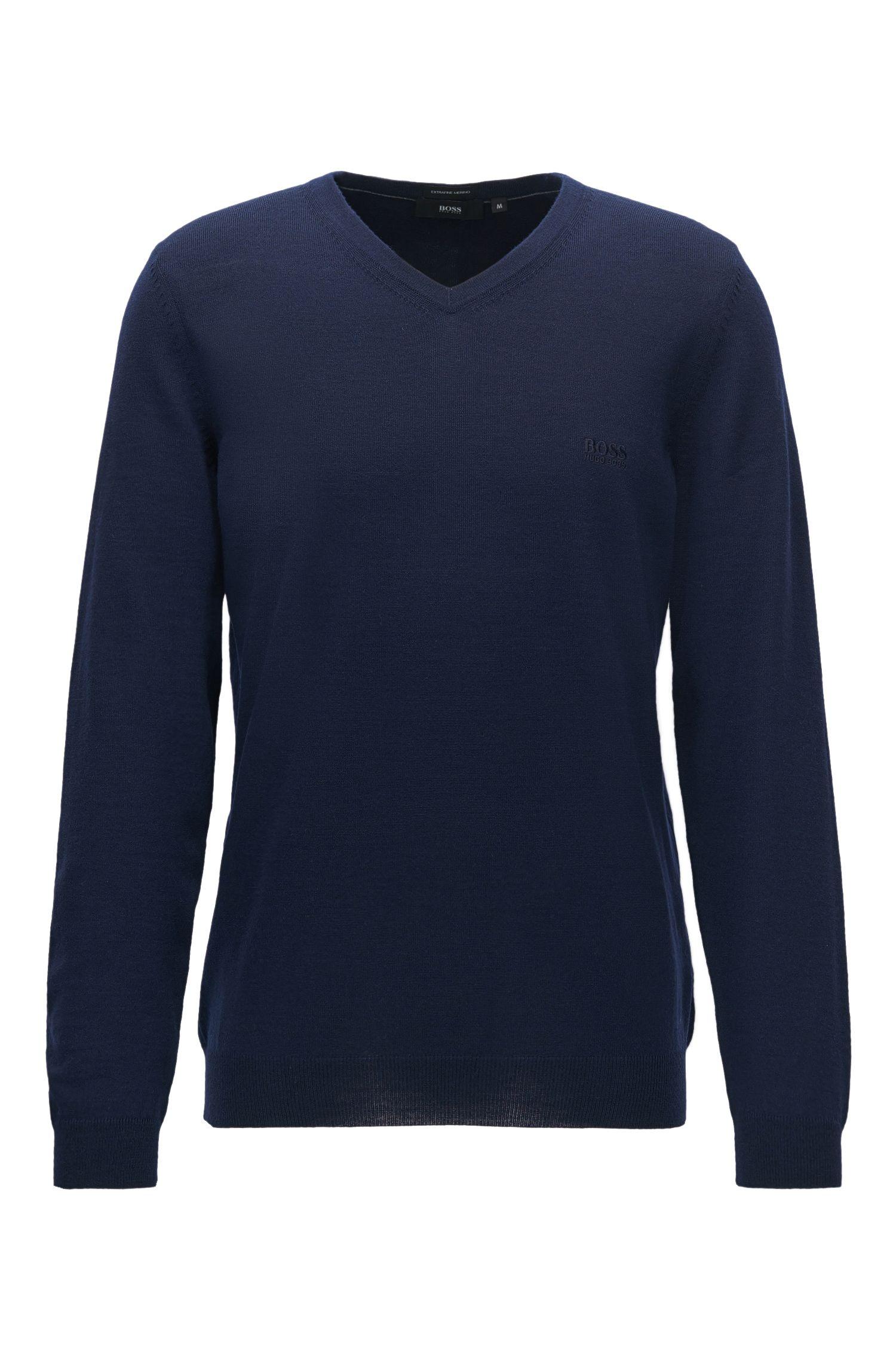 Jersey con cuello en pico de lana virgen