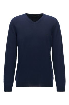 V-neck sweater in virgin wool, Dark Blue
