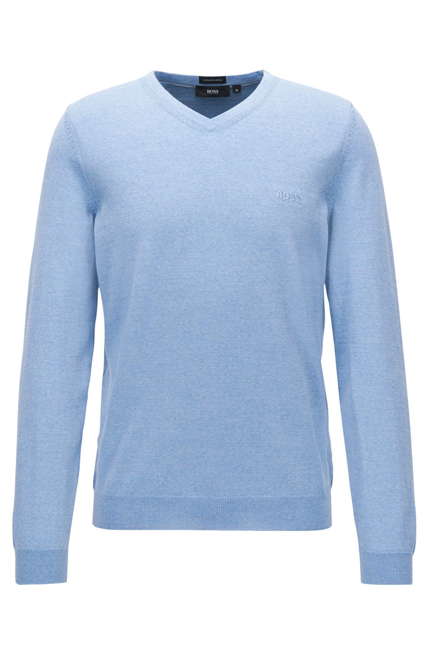 Maglione con scollo a V in lana vergine