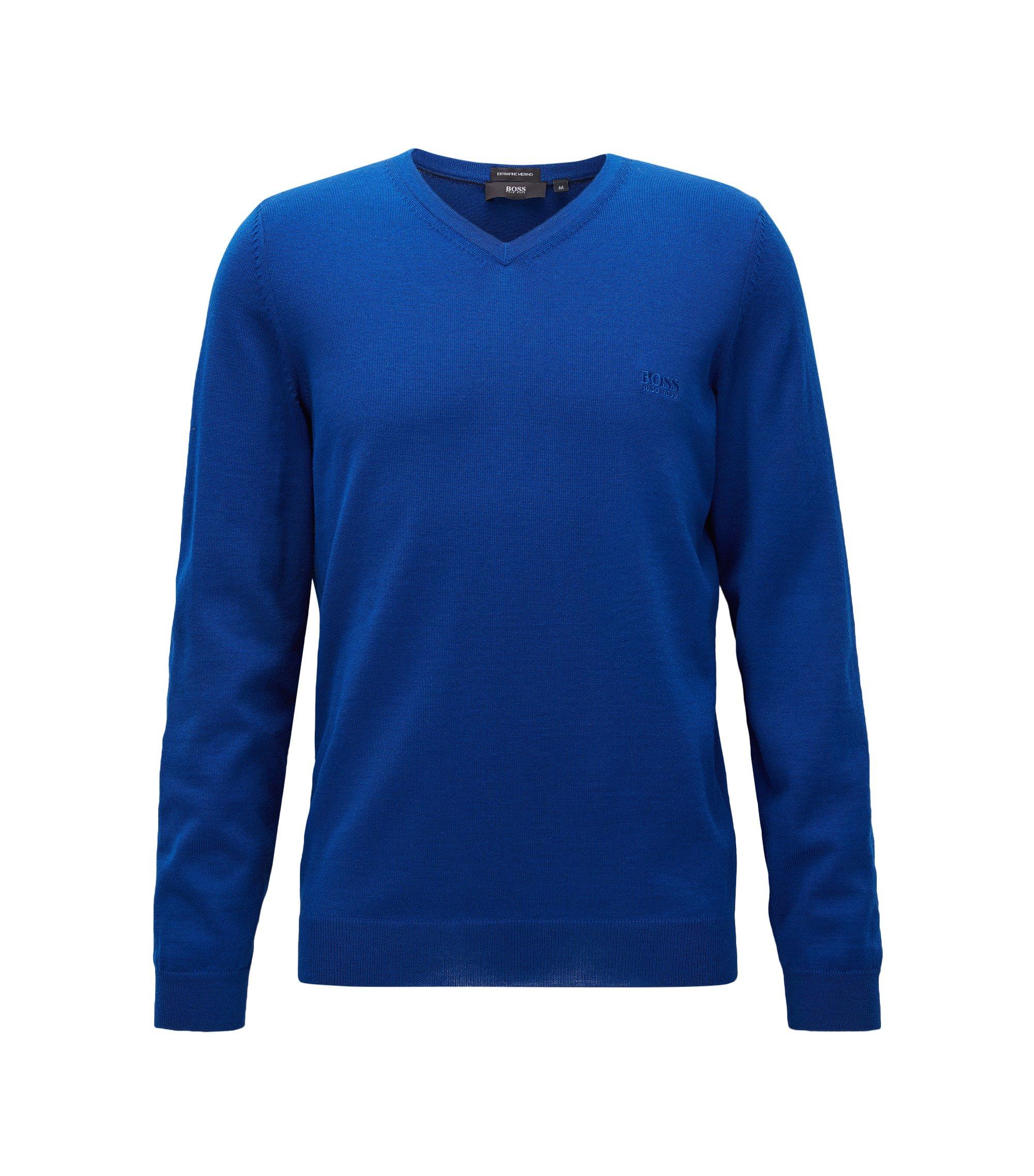 Maglione con scollo a V in lana vergine, Blu