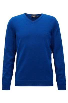 V-neck sweater in virgin wool, Open Blue