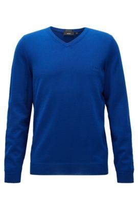 Regular-Fit Pullover aus Schurwolle mit V-Ausschnitt, Hellblau