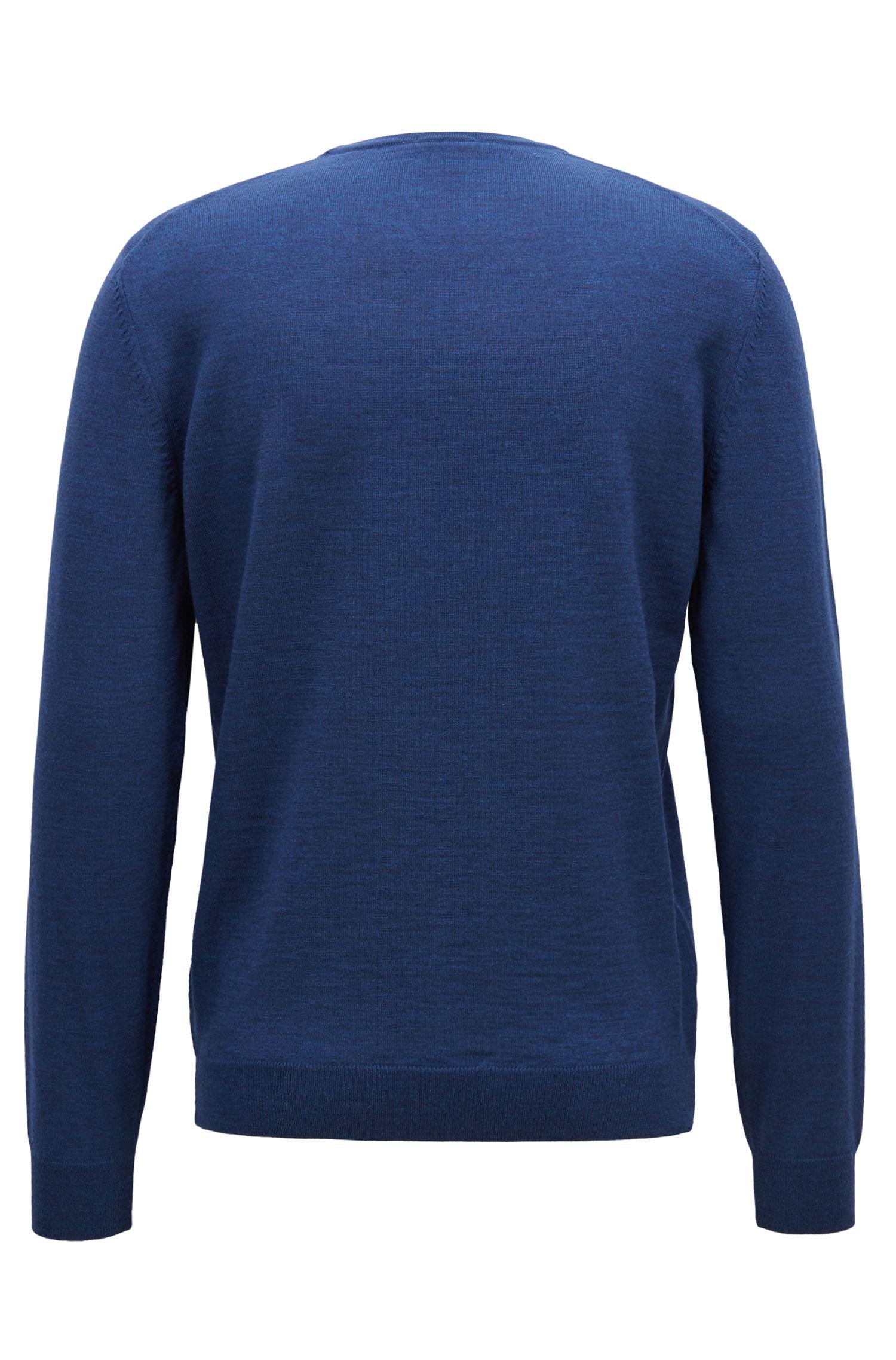 Regular-Fit Pullover aus Schurwolle mit V-Ausschnitt, Blau
