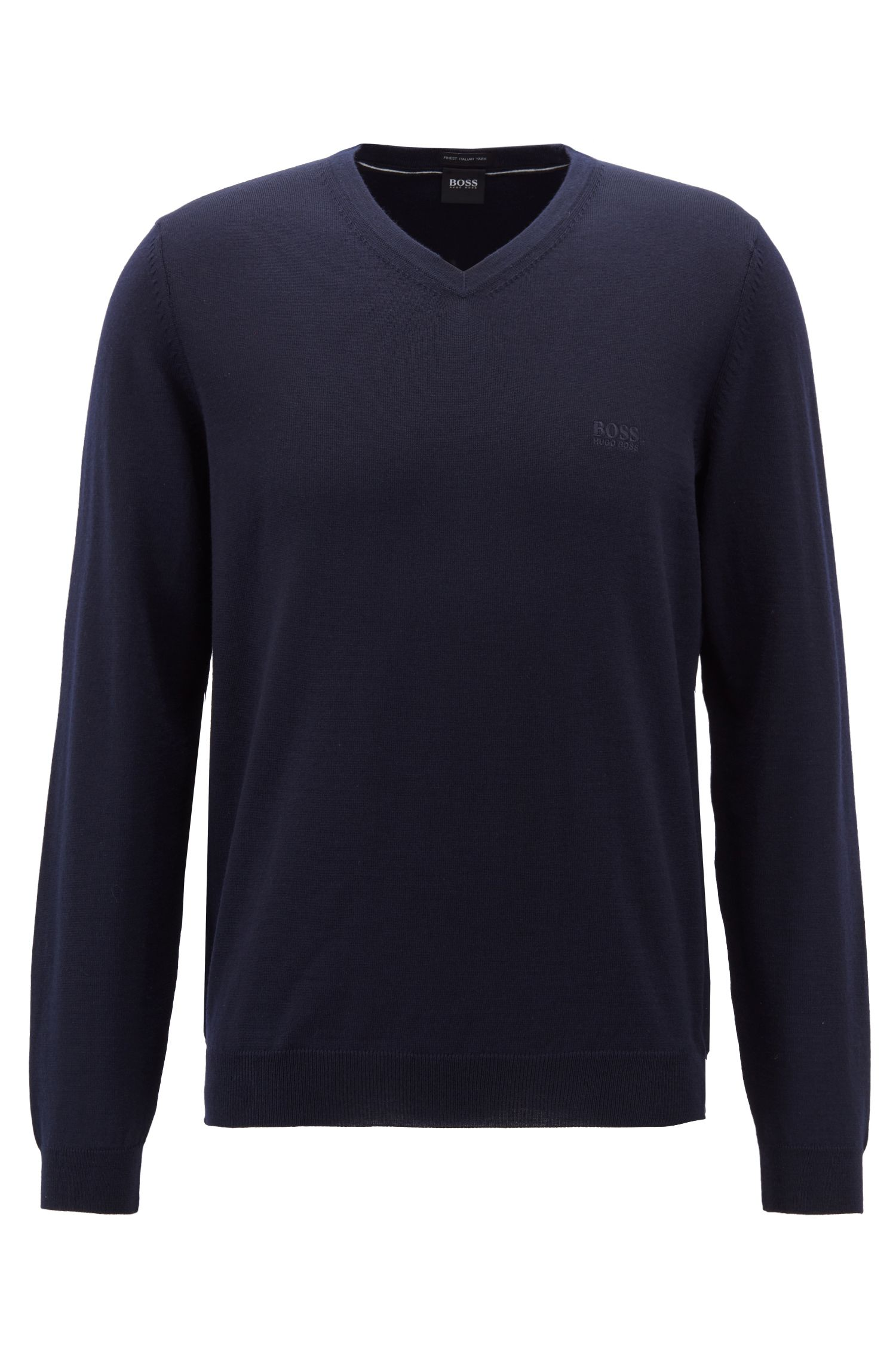 V-neck sweater in virgin wool, Blue