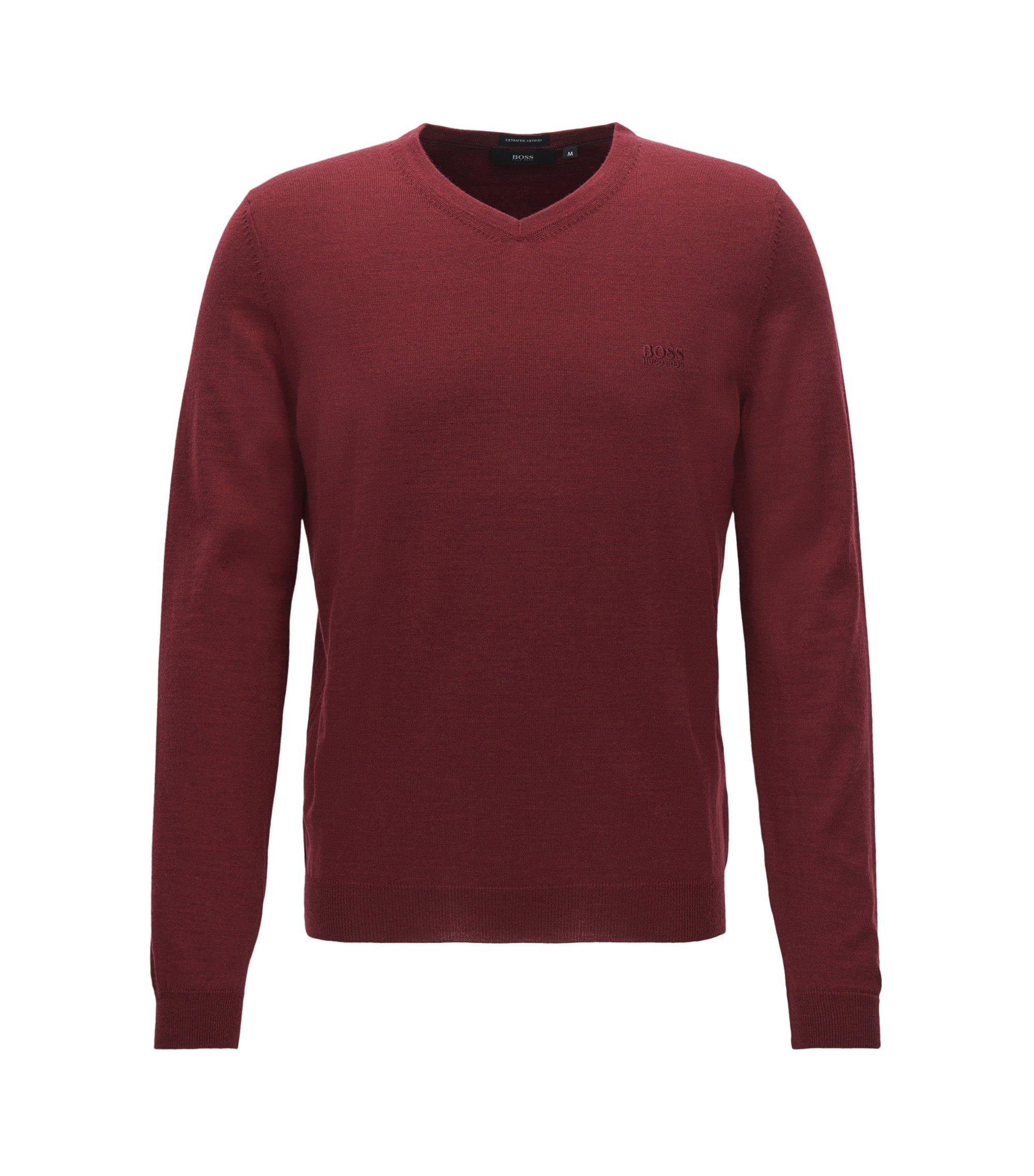 V-neck sweater in virgin wool, Dark Red