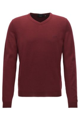 V-neck sweater in virgin wool, Dark Red