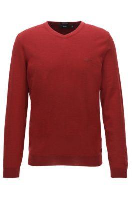 Regular-Fit Pullover aus Schurwolle mit V-Ausschnitt, Rot