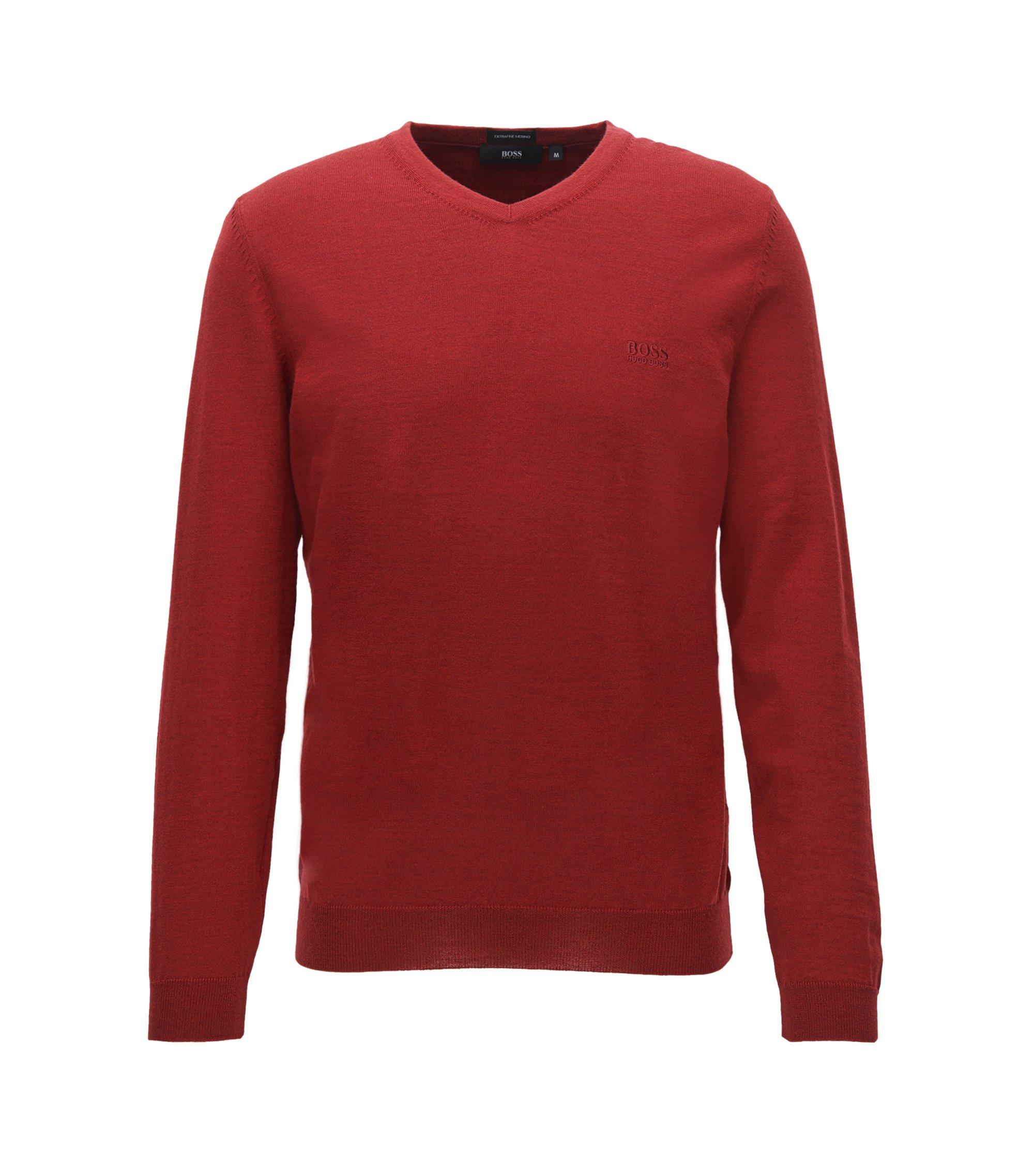 Jersey con cuello en pico de lana virgen, Rojo