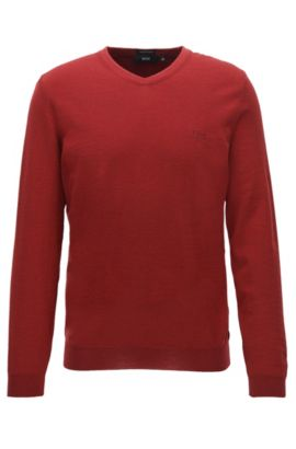 V-neck sweater in virgin wool, Red