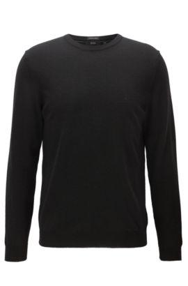 Pull à col ras-du-cou en jersey de laine vierge, Noir