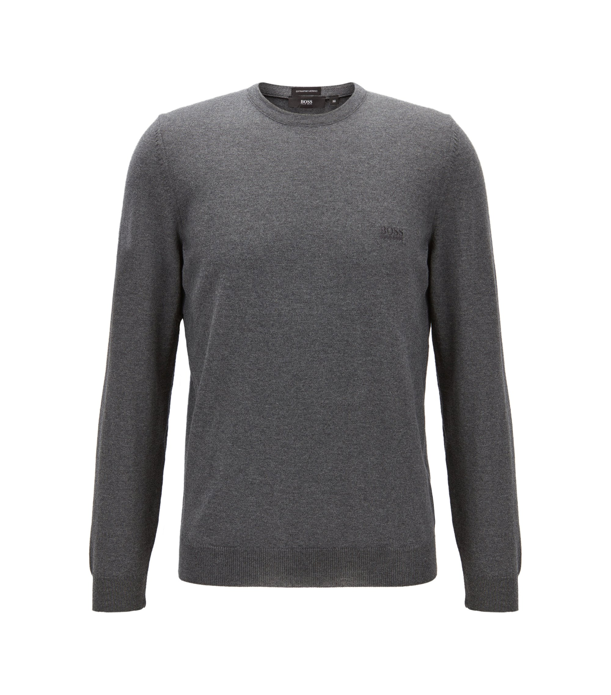 Crew-neck sweater in virgin wool jersey, Grey