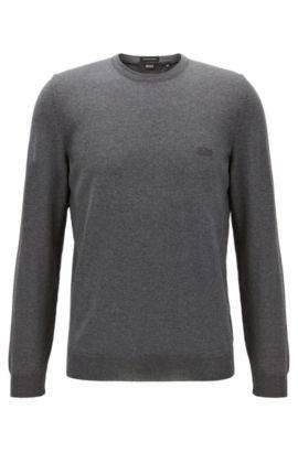 Maglione a girocollo in jersey di lana vergine, Grigio