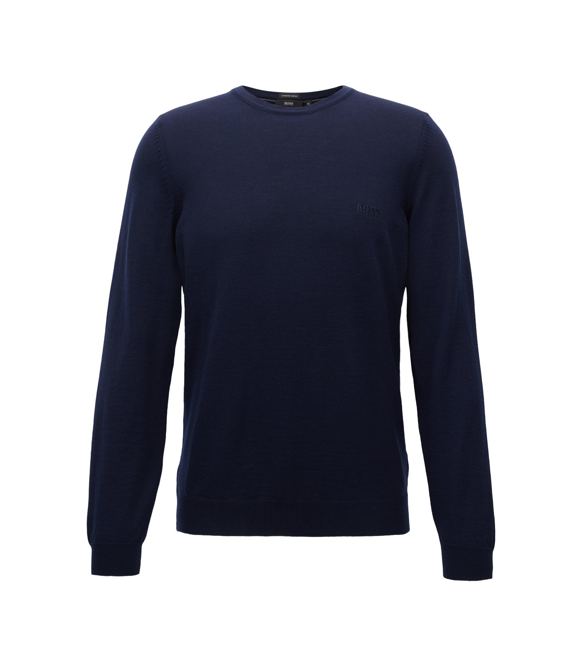 Crew-neck sweater in virgin wool jersey, Dark Blue