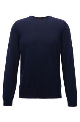 Pull à col ras-du-cou en jersey de laine vierge, Bleu foncé