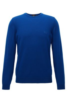 Jersey de cuello redondo en punto de lana virgen, Azul