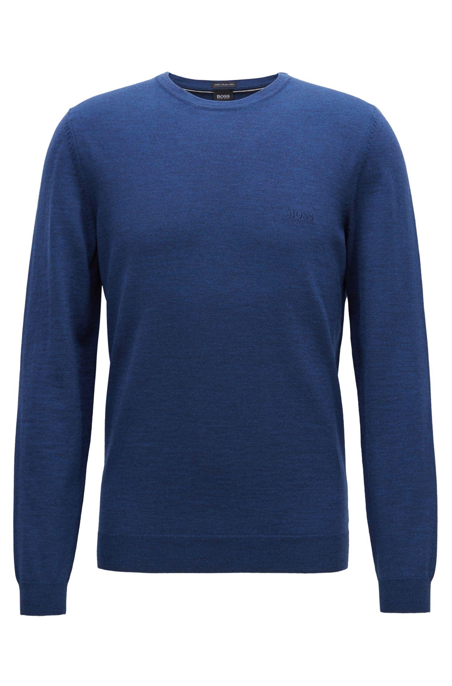Pullover aus Schurwoll-Jersey mit Rundhalsausschnitt, Blau