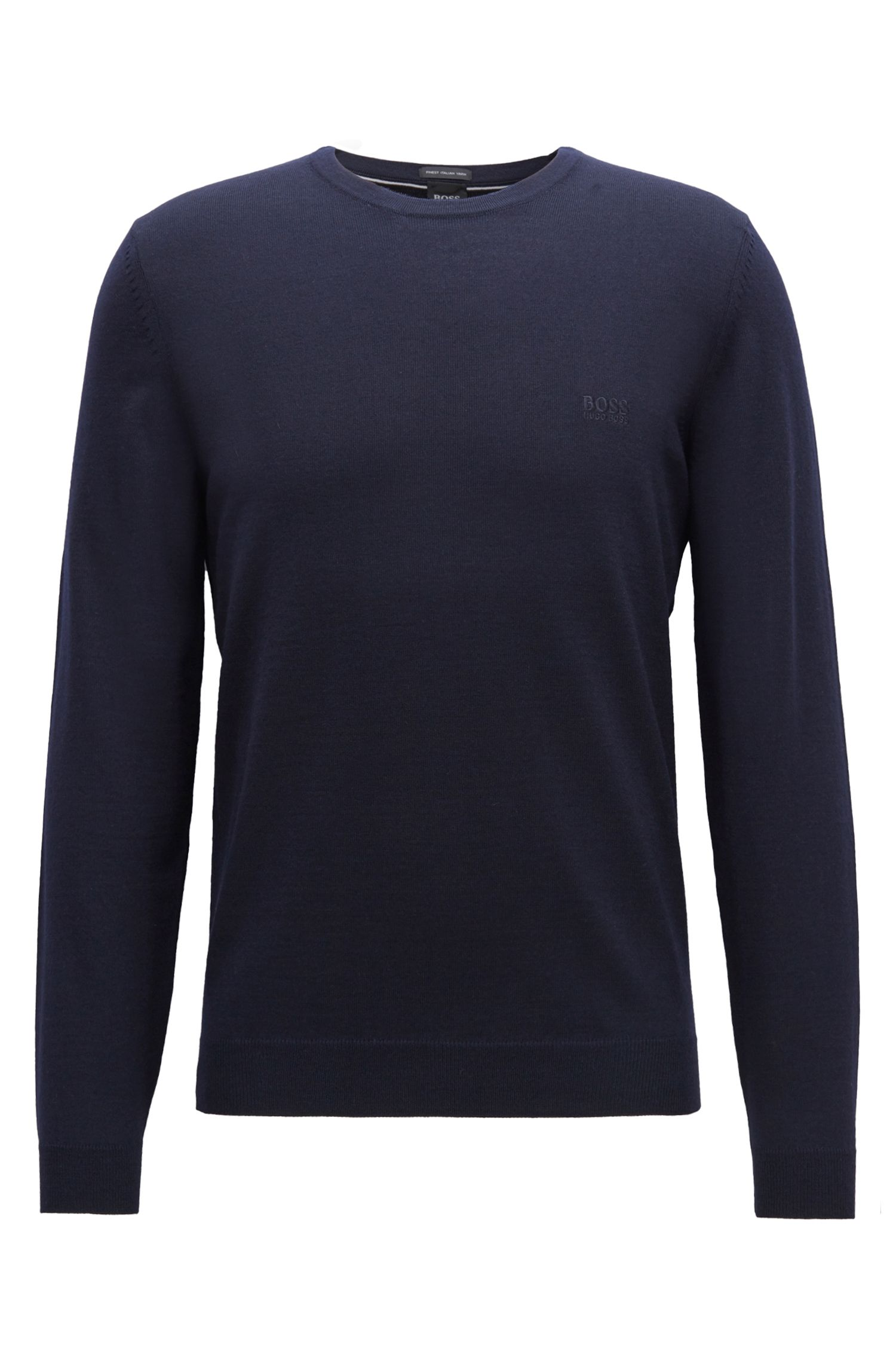 Crew-neck sweater in virgin wool jersey
