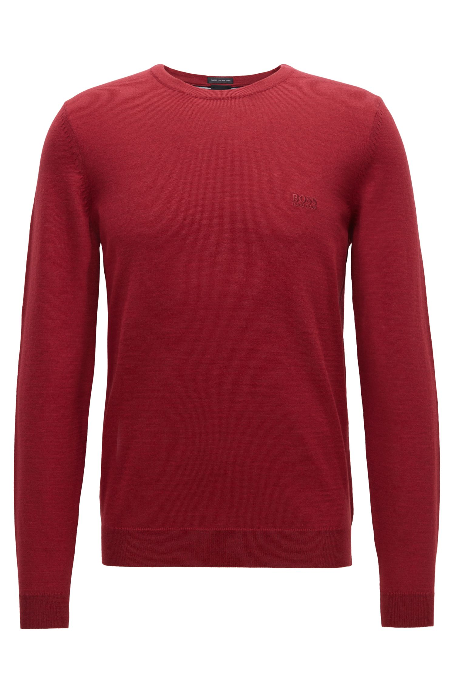 Crew-neck sweater in virgin wool jersey, Dark Red
