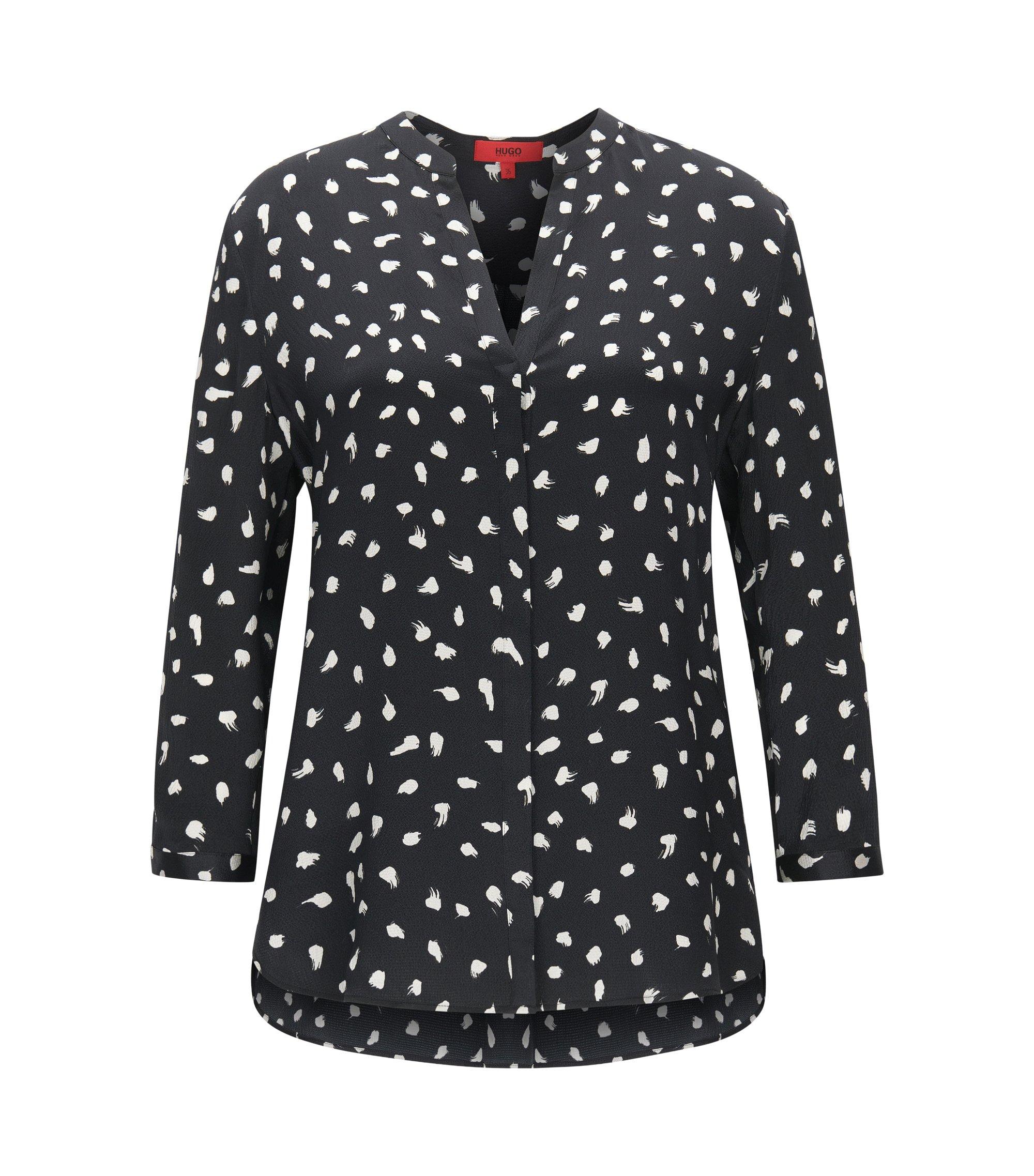Kragenlose Relaxed-Fit Bluse aus reiner Seide, Gemustert