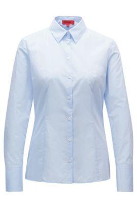 Blusa slim fit en algodón de tejido dobby, Celeste