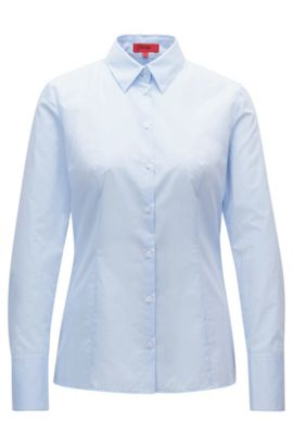 Slim-fit blouse in dobby cotton, Light Blue