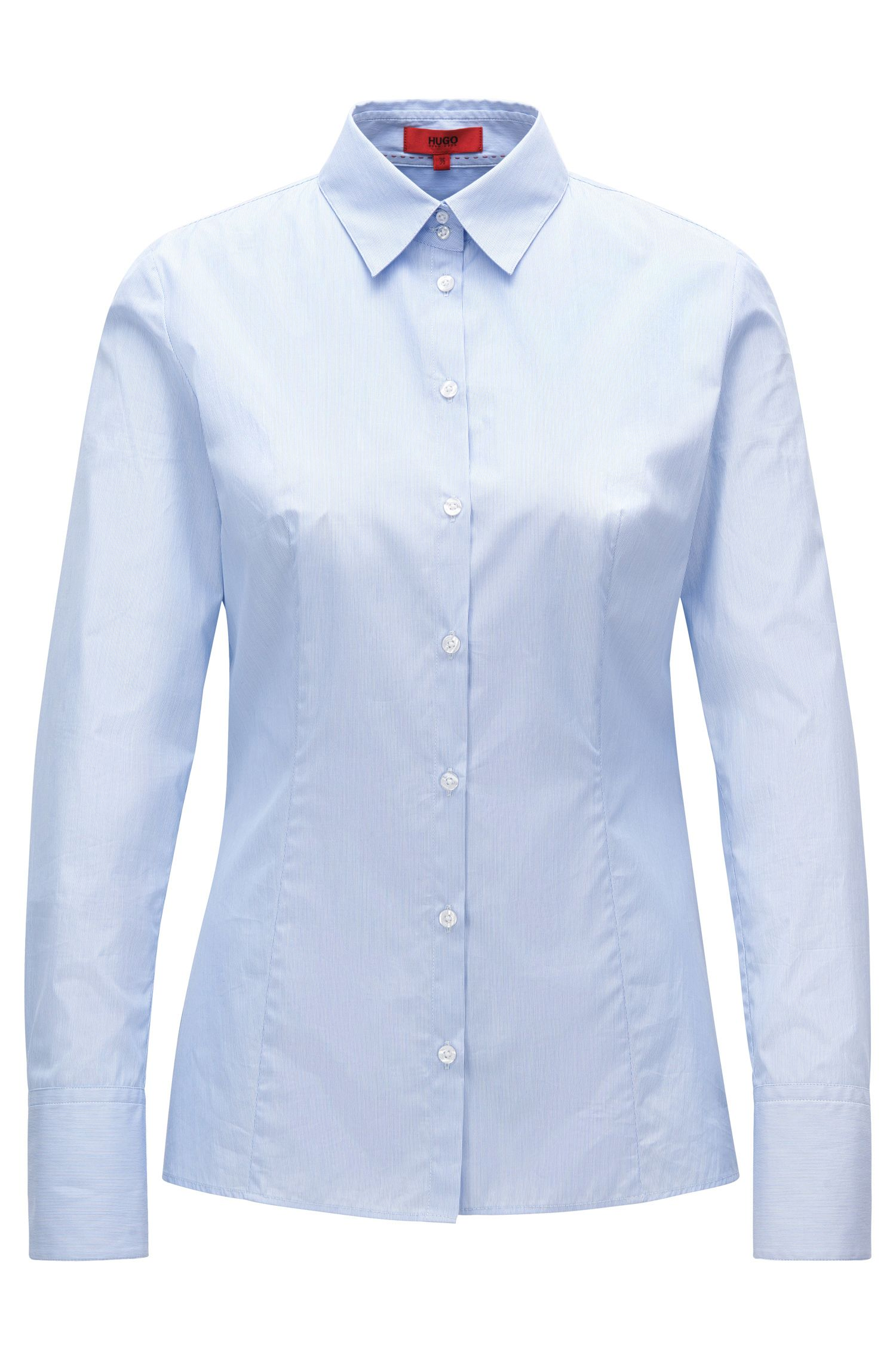 Slim-fit blouse in end-on-end cotton