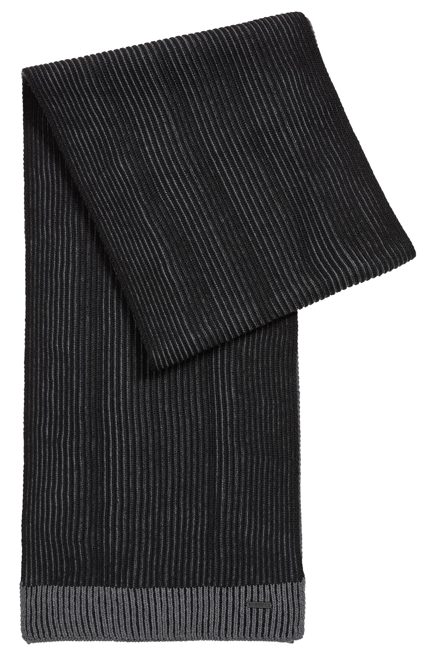 Ribbed scarf in virgin wool