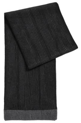 Ribbed scarf in virgin wool, Black