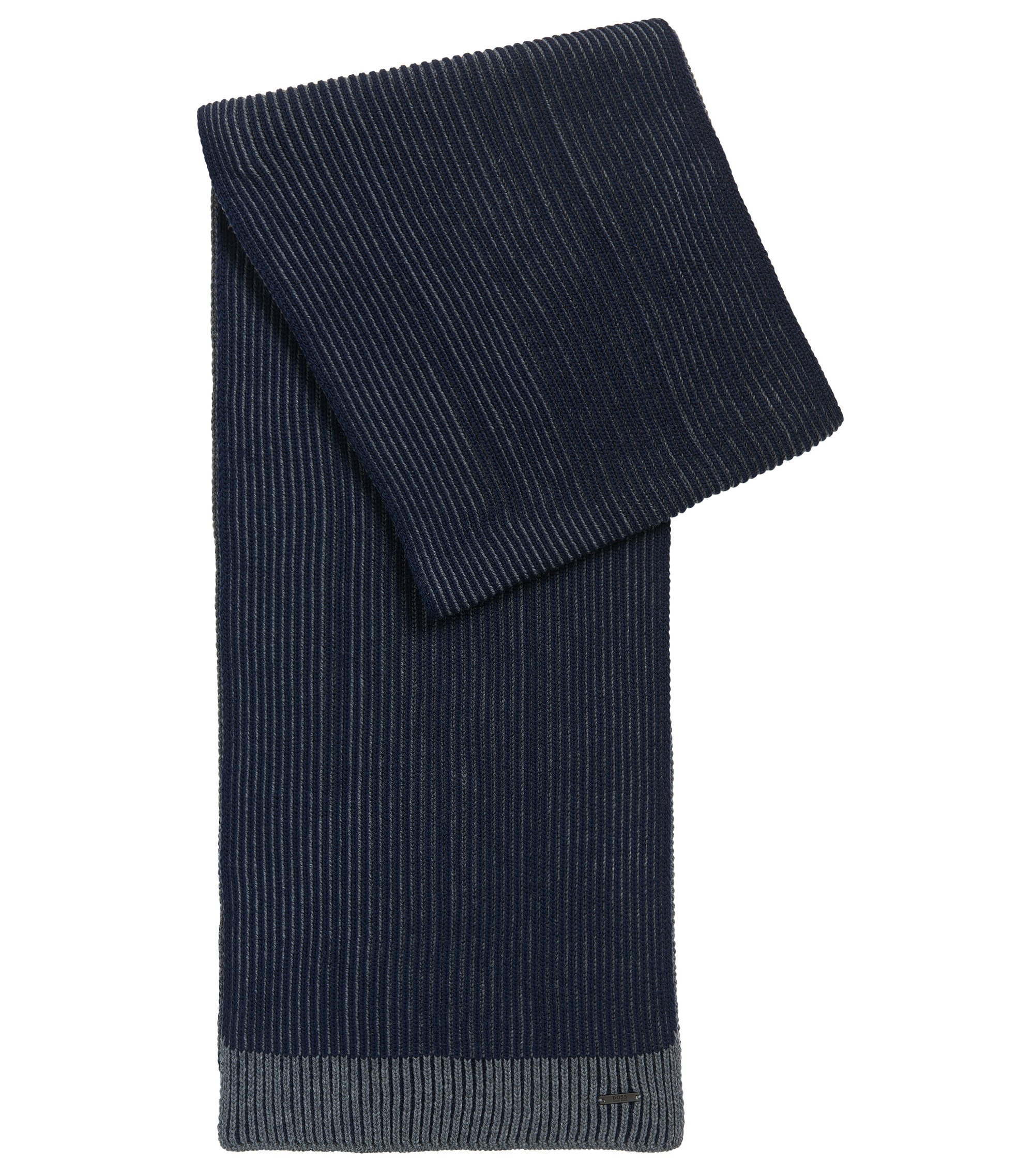 Ribbed scarf in virgin wool, Dark Blue