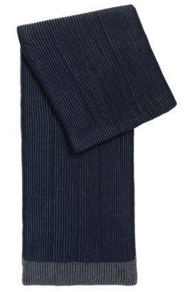 Ribbed scarf in virgin wool, Donkerblauw