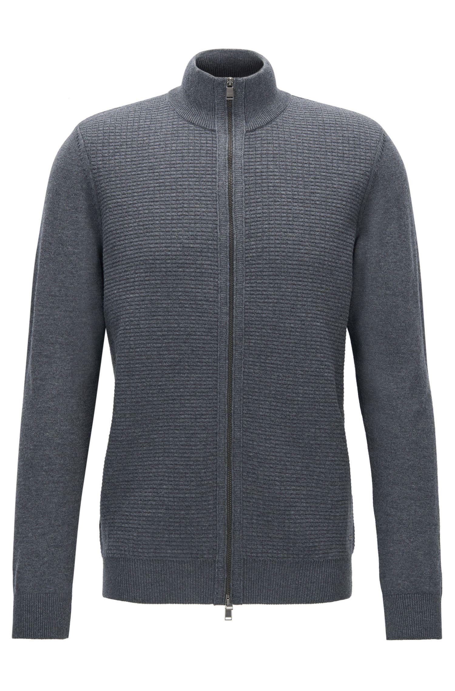 Cardigan zippé Regular Fit en laine vierge