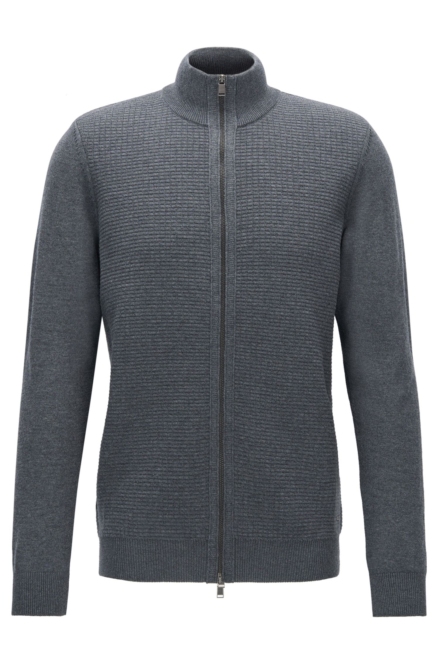 Cardigan regular fit con zip in lana vergine