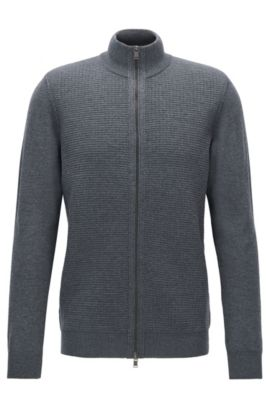 Cardigan regular fit con zip in lana vergine, Grigio