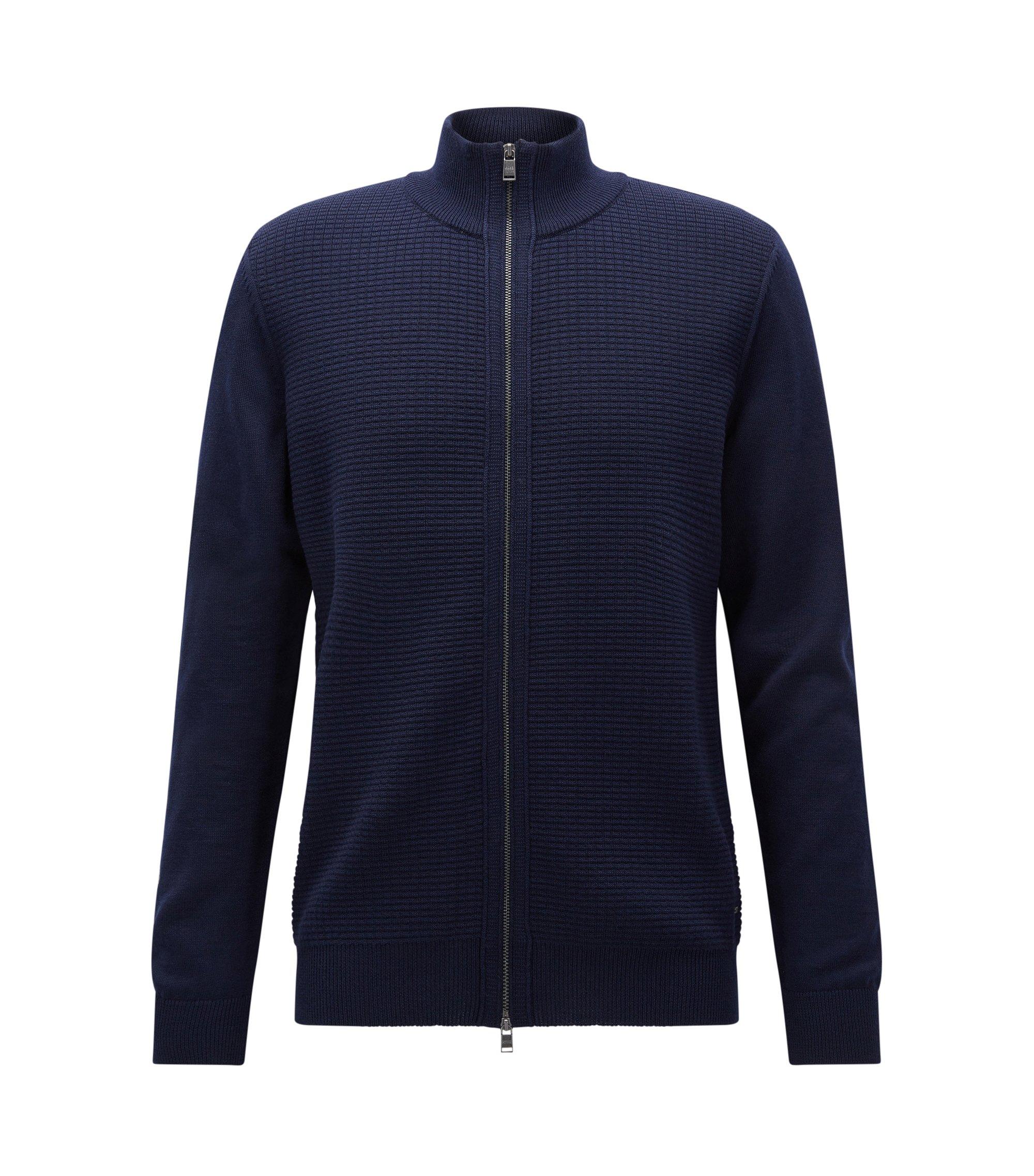 Cardigan regular fit con zip in lana vergine, Blu scuro